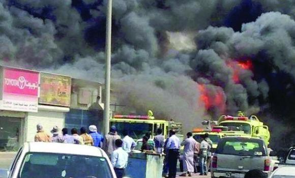 The fire consumed several mechanical workshops, spare part and aluminum stores, furniture shops and tires and oil-change shops in an area known to lack safety measures.