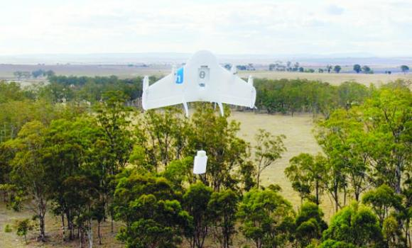This undated image provided by Google shows a Project Wing drone vehicle during delivery.