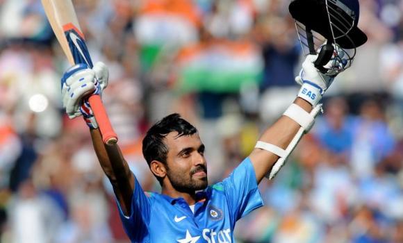 India's Ajinkya Rahane celebrates scoring a century against England during the fourth One Day International match at Edgbaston cricket ground, Birmingham, England, Tuesday.