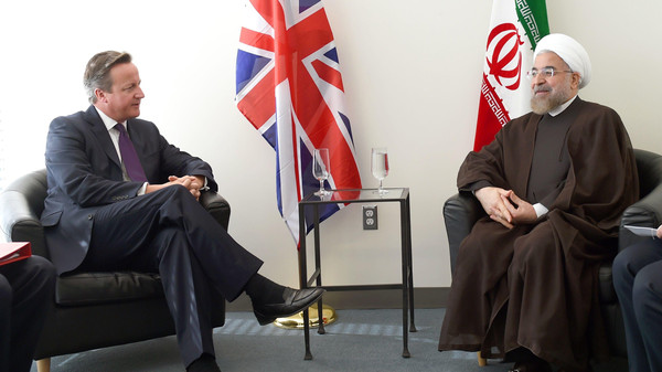 Britain's Prime Minister David Cameron (L) meets with Iran's President Hassan Rouhani during the 69th United Nations General Assembly in New York September 24, 2014.