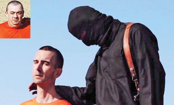 British aid worker David Haines speaks to the camera before being beheaded. Inset: British hostage Alan Henning, who has been threatened to be next victim.