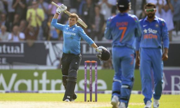England's Joe Root celebrates reaching his century during the fifth one-day international (ODI) cricket match against India at Headingley cricket ground in Leeds, England, on Friday.