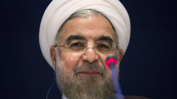 Iran's President Hassan Rouhani in a news conference at the United Nations Headquarters in New York September 26, 2014.
