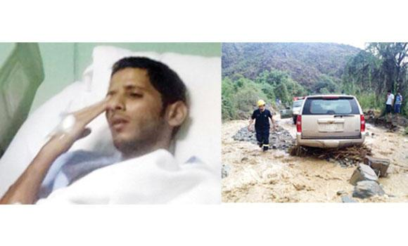 Hospitalized Corp. Zaid Al-Zahrani and, right, rescuers retrieve a vehicle stuck in Jazan rainwaters.