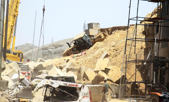 Concrete blocks used as retaining wall are seen at the Makkah accident site on Wednesday.