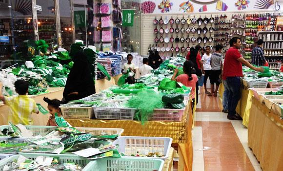 Local stores sell items depicting Saudi culture ahead of the National Day in Jeddah.
