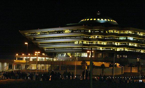A night view shows the Saudi interior ministry building in Riyadh.