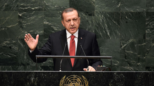 Turkey's President Recep Tayyip Erdogan speaks during the 69th Session of the UN General Assembly at the United Nations in New York on September 24, 2014.