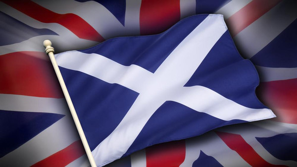 The flag of the United Kingdom (the union jack) and the flag of Scotland.