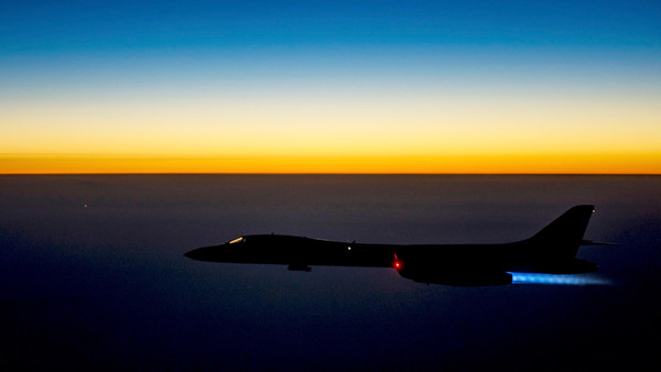 A U.S. Air Force B-1B Lancer supersonic bomber flies over northern Iraq after conducting air strikes in Syria against ISIS targets September 27, 2014.
