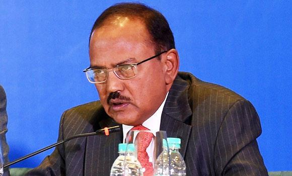 Indian National Security Advisor Ajit Kumar Doval delivers his speech during the Munich Security conference in New Delhi on Tuesday.