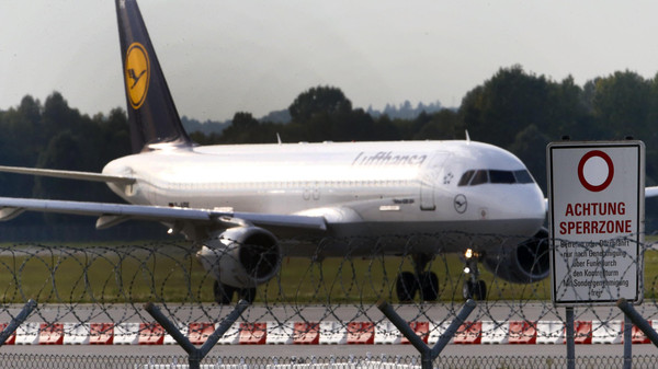 A German airline Lufthansa aircraft is pictured at Munich's airport Sept. 19, 2014.