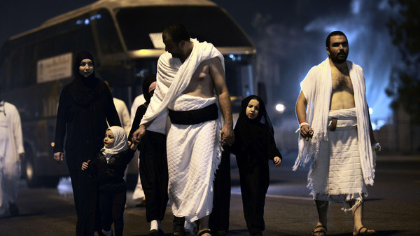 Muslim pilgrims arrive at Mount Arafat, near the holy city of Makkah on Oct. 2, 2014.