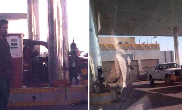 The two Americans had pulled in at this gas station near King Fahd Statium in Riyadh when they came under fire, killing one.
