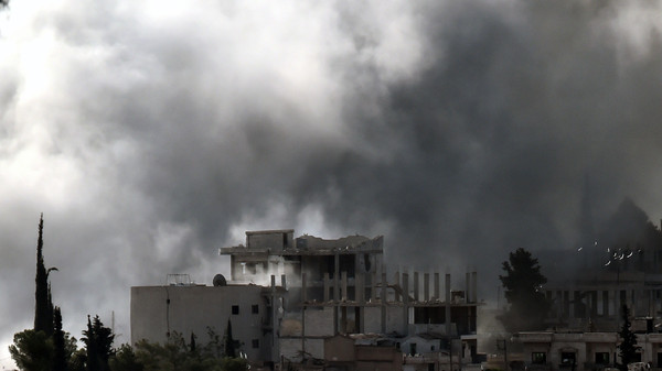 Smoke rises from the Syrian town of Ain al-Arab, known as Kobane by the Kurds.