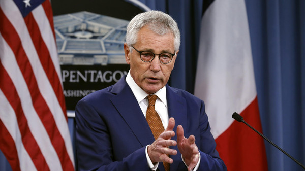 U.S. Secretary of Defense Chuck Hagel speaks during a news conference at the Pentagon in Washington October 2, 2014.
