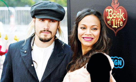 "Zoe Saldana and her husband Marco Perego at the premiere of the film ""Book of Life"" in Los Angeles, California, on Sunday."