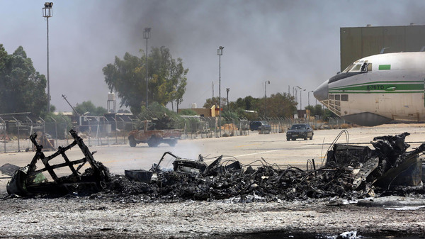 An air strike hit the last functioning commercial airport in Libya's capital Tripoli for a second day running on Tuesday.