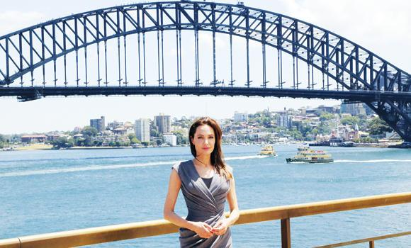 Angelina Jolie in front of Australia's iconic landmark Harbor Bridge after the world premiere of her movie 'Unbroken' in Sydney on Tuesday.
