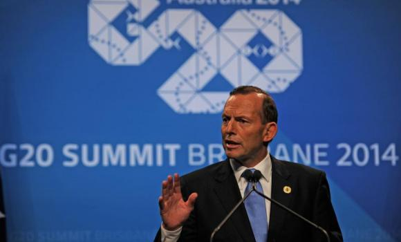 Australian Prime Minister Tony Abbott speaks during a press conference at the G20 Leader's Summit in Brisbane.