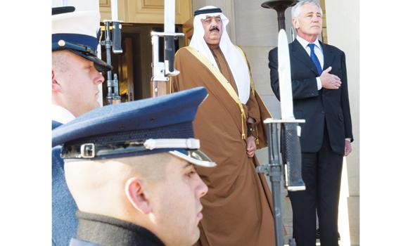 US Secretary of Defense Chuck Hagel hosts a guard of honor for National Guard Minister Prince Miteb bin Abdullah at the Pentagon