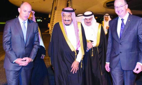 Crown Prince Salman, deputy premier and minister of defense, being welcomed on his arrival in Brisbane where he will attend the G-20 Summit.