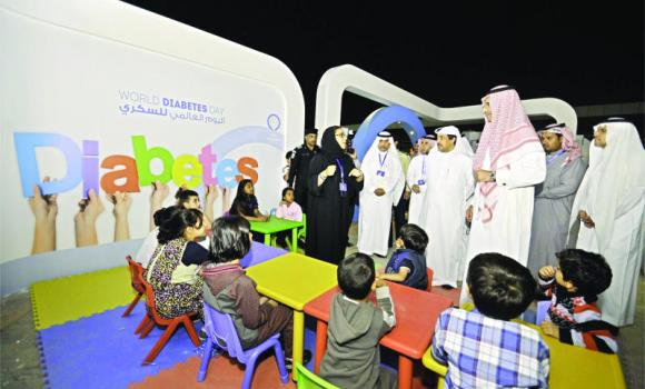 Deputy Health Minister for Public Health Dr. Abdul-Aziz bin Saeed views a demonstration on preventive measures against diabetes at the launch of the Diabetes Awareness Program in Riyadh on Saturday.