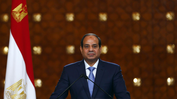 Egypt's President Abdel Fattah al-Sisi speaks during a news conference at the presidential palace in Cairo.