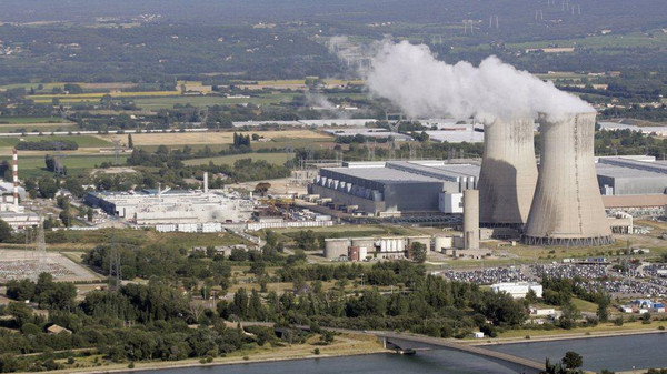French nuclear plants are seen from an aerial view.
