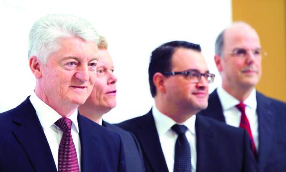 Heinrich Hiesinger, CEO of ThyssenKrupp AG, with board members CFO Guido Kaufmann, Oliver Burkhard (corporate services) and Donatus Kaufmann (compliance) at the annual news conference in Essen.