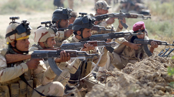 Iraqi Army personnel take part during an intensive security deployment against ISIS.