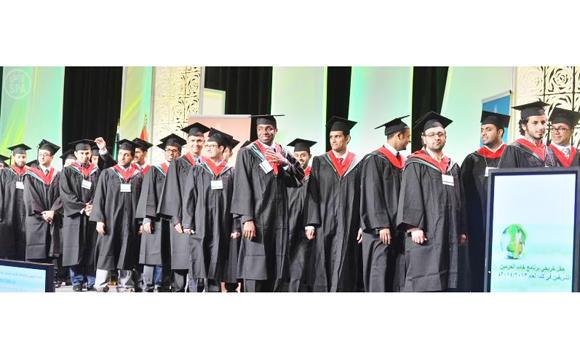 In this undated file photo, King Abdullah's scholarship students during the graduation ceremony in Canada.