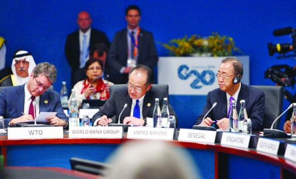 WTO Director-General Roberto Azevedo, World Bank Group President Jim Yong Kim and UN Secretary-General Ban Ki-moon at the G-20 Leaders' Summit in Brisbane.