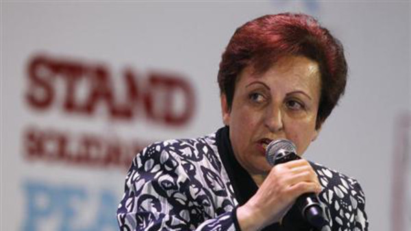 2003 Nobel Peace prize laurate Shirin Ebadi of Iran speaks during a session of the 13th World Summit of Nobel Peace Prize Laureates in Warsaw.