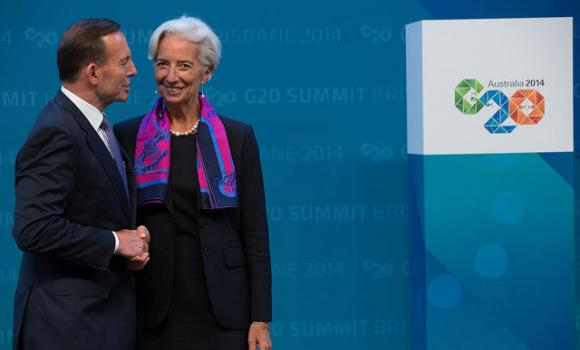 Australia's Prime Minister Tony Abbott officially welcomes IMF Managing Director Christine Lagarde to the G20 Leaders' Summit in Brisbane.