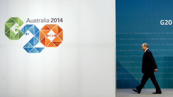 Russia's President Vladimir Putin arrives for the G20 Summit in Brisbane on Nov. 15, 2014.