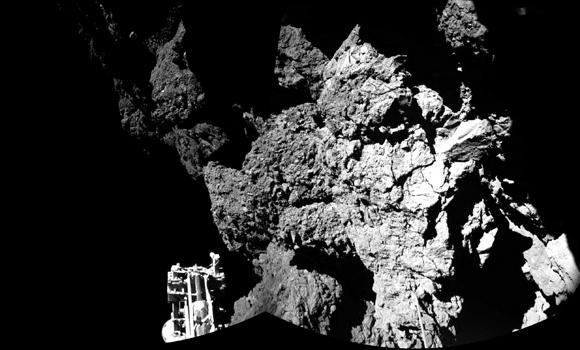 The combination photo of different images taken with Philae's CIVA camera system released by the European Space Agency ESA on Nov. 13, 2014 shows Rosetta's lander Philae on the surface of Comet 67P/Churyumov-Gerasimenko. Philae landed Nov. 12, 2014 next to a cliff that largely blocked sunlight from reaching its solar panels on the comet.