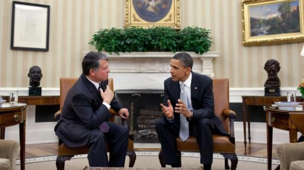 A file photo of President Barack Obama meeting with King Abdullah of Jordan in the White House's Oval Office