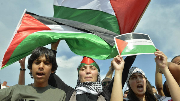 People shout slogans and hold Palestinian flags during a demonstration in Lyon, central eastern France to protest against an Israeli military campaign in Gaza.