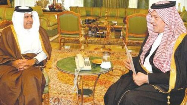 Saudi Minister of Foreign Affairs Prince Saud Al-Faisal received at his palace in Riyadh on Monday the Qatari minister of state.