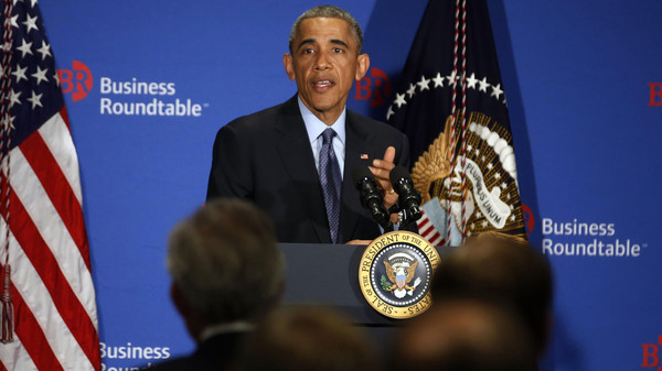 U.S. President Barack Obama answers questions from business leaders while at the quarterly meeting of the Business Roundtable in Washington, Dec. 3, 2014.