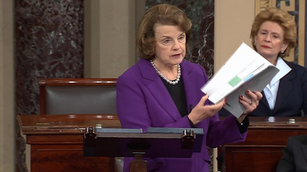 Senate Intelligence Committee Chairwoman Dianne Feinstein (L) discusses released Intelligence Committee report on the CIA's anti-terrorism tactics.