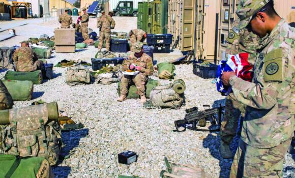 US soldiers from Dragon Troop continue preparations for their return home from Afghanistan at Gamberi, Laghman province, on Wednesday.