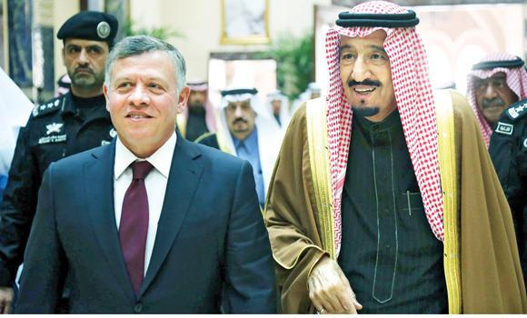 Custodian of the Two Holy Mosques King Salman receives Jordan's King Abdallah in Riyadh.