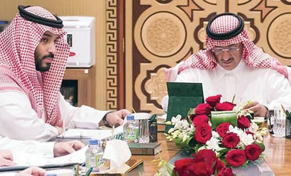 Deputy Crown Prince Mohammed bin Naif and Defense Minister Prince Mohammed bin Salman attend a meeting of the Council for Political and Security Affairs in Riyadh on Wednesday. (SPA)