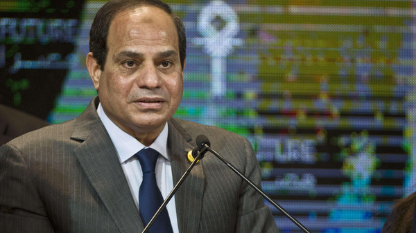 Egyptian President Abdel-Fattah al-Sisi gives a speech at the end of the Egypt economic development conference at the congress hall in the Red Sea resort of Sharm el-Sheikh on March 15, 2015.