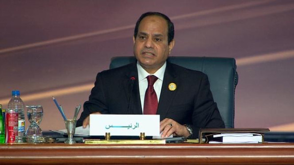Egyptian President Abdel Fattah al-Sisi speaking at the Arab League Summit.