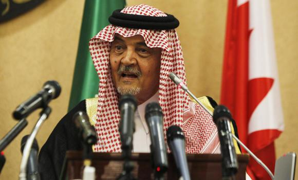 Foreign Minister Prince Saud Al-Faisal holds a press conference in this file photo.