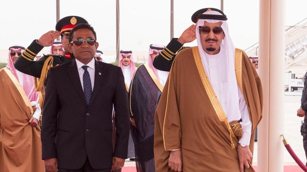 King Salman, who received the Maldivian president at the airport in Riyadh, later held a luncheon in the latter's honor