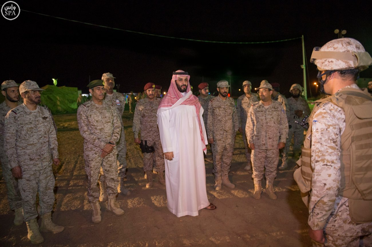Saudi Defense Minister Prince Mohammed bin Salman bin Abdulaziz inspecting Saudi army units in the Southern Region. (SPA)